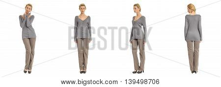 Portrait Of Young Slim Woman In Gray Pants Posing Isolated On White