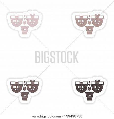 Set of paper stickers on white background  man woman popcorn