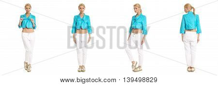 Portrait Of Young Slim Woman In White Pants Posing Isolated On White