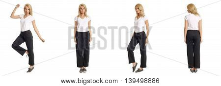 Portrait Of Young Slim Woman In Black Pants Posing Isolated On White