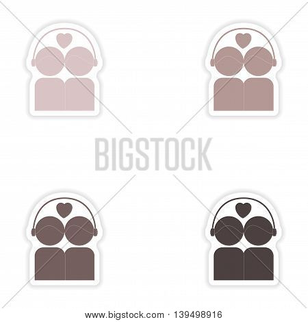 Set of paper stickers on white background  couple listening music