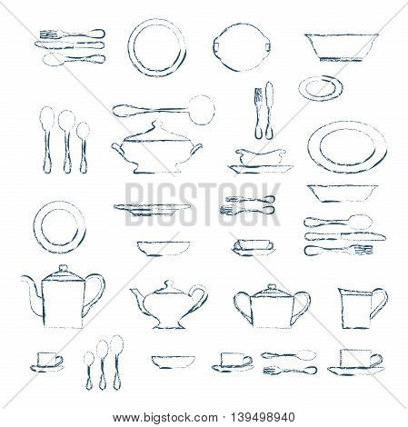 Set of kitchen utensil and collection of tableware illustration - dishes cutlery tea pot and cups.