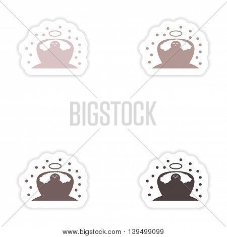 Set of paper stickers on white background  newborn Jesus
