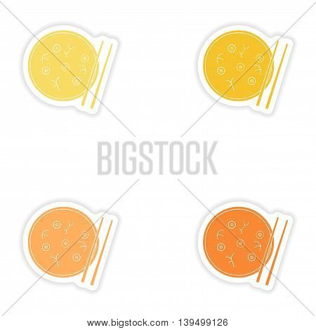 Set of paper stickers on white background   Miso soup