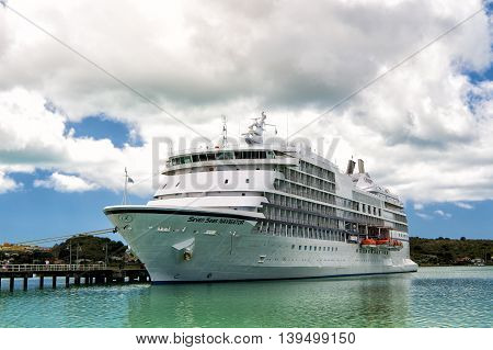 St. Johns Antigua - March 5 2016 : Seven Seas Navigator large luxury cruise liner with allservices and full entertainment at the port of st. Jons Antigua at sunny day