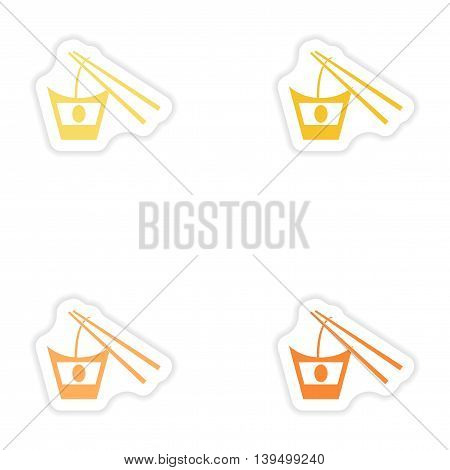 Set of paper stickers on white background   Japanese noodles