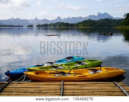 Kayak at Raft in Ratchaprapha Dam or Khao Sok is in Surat Thani Province Thailand