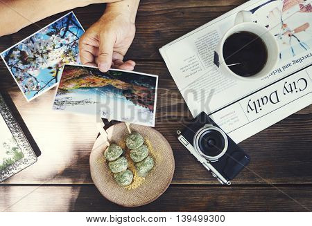 Senior Adult Reminding Memory Photos Couple Concept