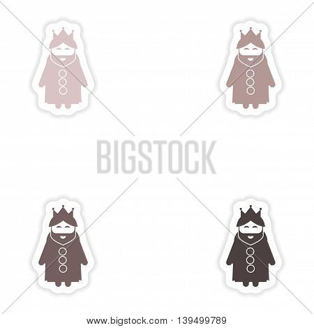 Set of paper stickers on white background  king cartoon