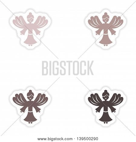 Set of paper stickers on white background  Christmas Angels