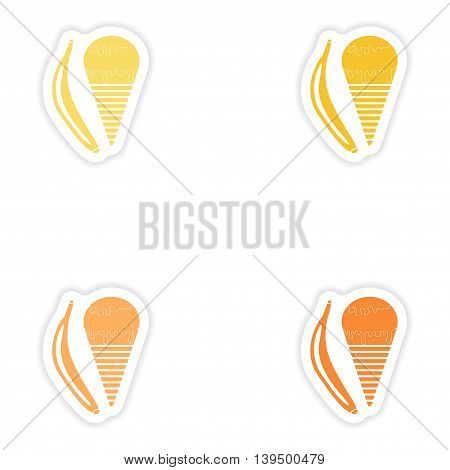 Set of paper stickers on white background  banana ice cream
