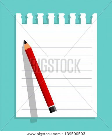 Notepaper And Red Pencil. Flat Design Vector Illustration Of A Notepaper And A Pencil As Background. Global Colors Used.