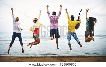 Beach Summer Friends Fun Shot Concept