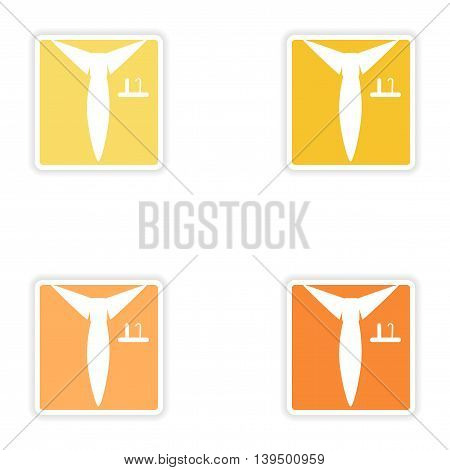Set of paper stickers on white background   shirt tie