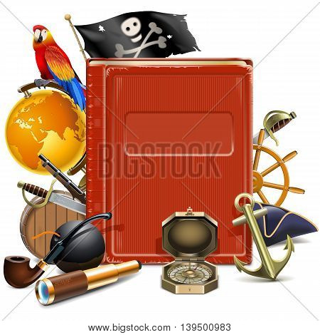 Vector Pirate Book isolated on white background