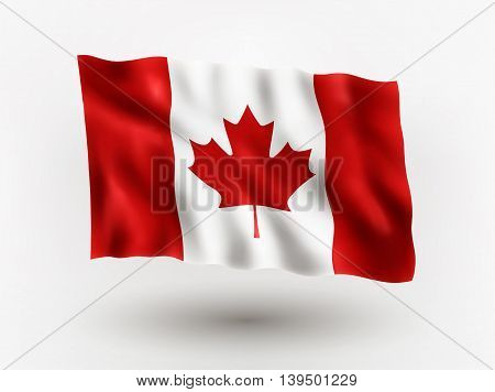 Illustration of waving flag of Canada isolated flag icon EPS 10 contains transparency.