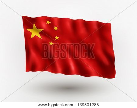 Illustration of waving flag of China isolated flag icon EPS 10 contains transparency.