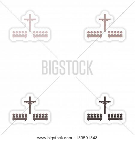 Set of paper stickers on white background  crucifixion and people