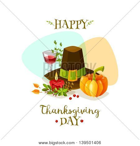 Colorful cartoon poster for thanksgiving day. Happy thanksgiving day. Vector illustration