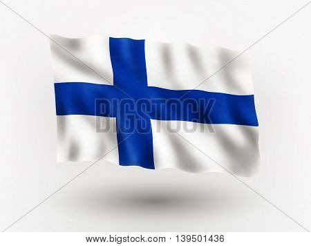 Illustration of waving flag of Finland isolated flag icon EPS 10 contains transparency.