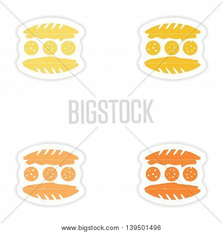 Set of paper stickers on white background  american hamburger