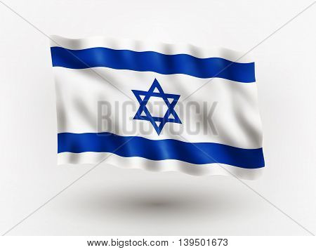 Illustration of waving flag of Israel isolated flag icon EPS 10 contains transparency.