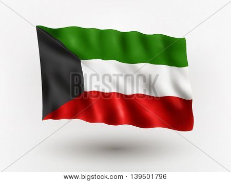 Illustration of waving flag of Kuwait isolated flag icon EPS 10 contains transparency.