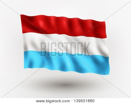 Illustration of waving flag of Luxemburg isolated flag icon EPS 10 contains transparency.