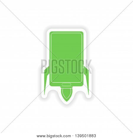 paper sticker on white background   mobile phone rocket
