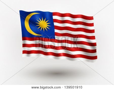 Illustration of waving flag of Malaysia isolated flag icon EPS 10 contains transparency.