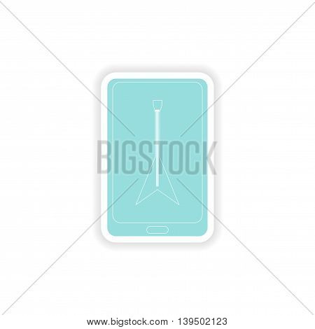 paper sticker on white background  mobile phone guitar