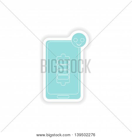 paper sticker on white background  mobile phone battery