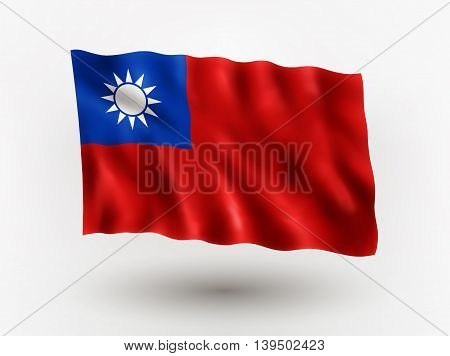 Illustration of waving flag of Taiwan isolated flag icon EPS 10 contains transparency.