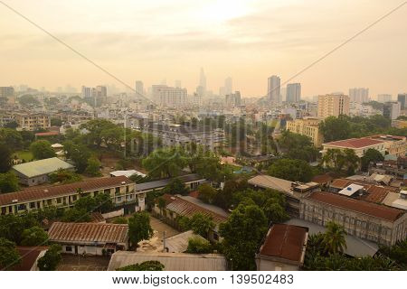 saigon, ho chi minh cityscape with tall buildings