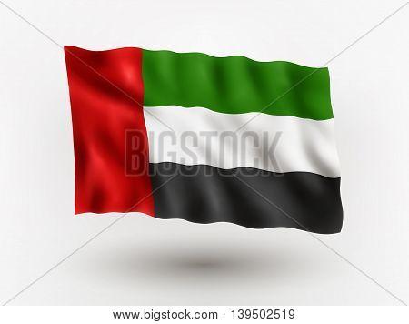 Illustration of waving flag of United Arab Emirates isolated flag icon EPS 10 contains transparency.