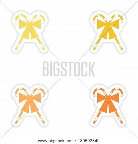 Set of paper stickers on white background   candy bow