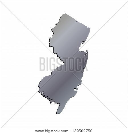 3D New Jersey State USA Aluminium outline map