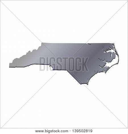 3D North Carolina USA Aluminium outline map