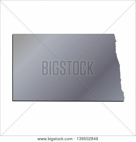 3D North Dakota USA Aluminium outline map