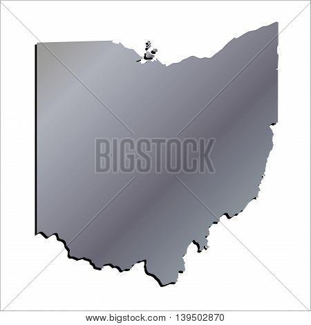 3D Ohio State USA Aluminium outline map