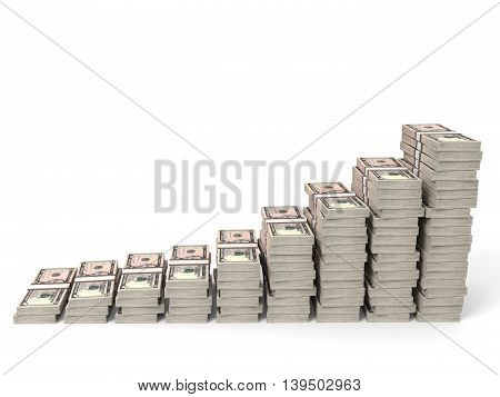 Money Stacks Graph. Five Dollars.
