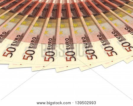 Money fan on white background. Fifty euros. 3D illustration.