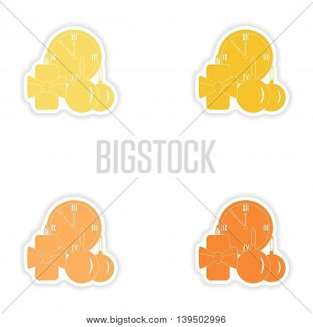 Set of paper stickers on white background   watch candle
