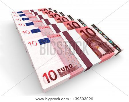 Stacks Of Money. Ten Euros.