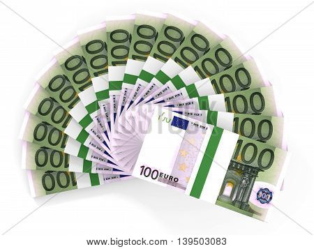 Money Fan. One Hundred Euros.