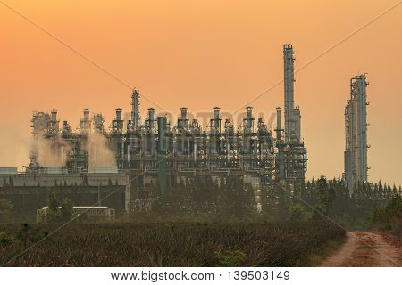 exterior tube of petrochemical plant and oil refinery for produce industrial material in heavy petroleum industry estate against beautiful sun light sky