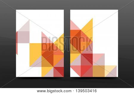 Colorful geometry design annual report a4 cover brochure template layout, magazine, flyer or leaflet booklet. Modern minimal triangle pattern. Vector illustration