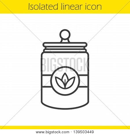 Tea jar linear icon. Loose tea leaves thin line illustration. Tea container contour symbol. Vector isolated outline drawing