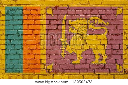 Flag of Sri Lanka painted on brick wall background texture