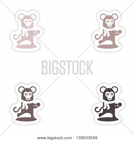 Set of paper stickers on white background    monkey snow